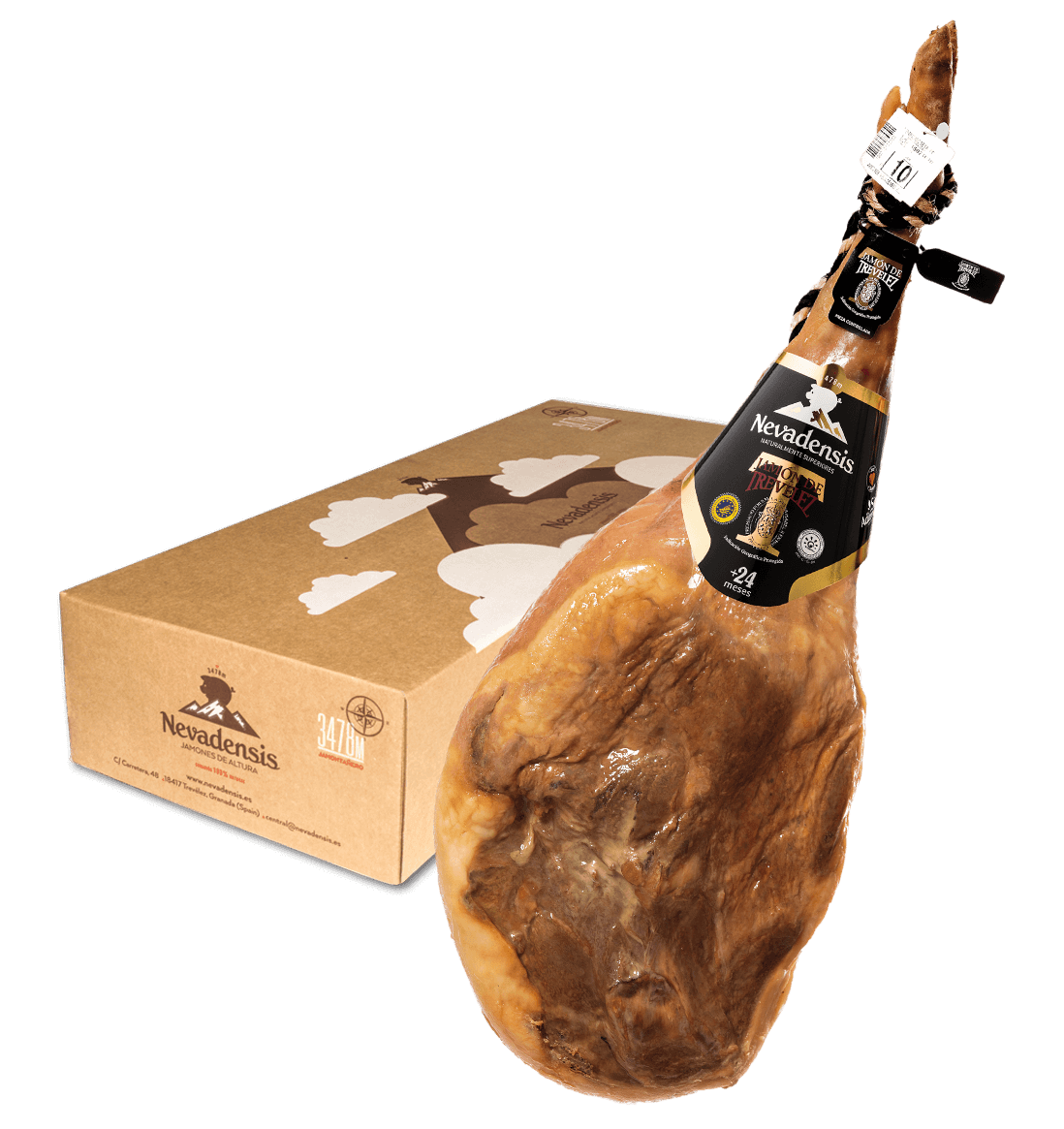 Box with a Serrano Ham from Trevélez, Alpujarra, Spain
